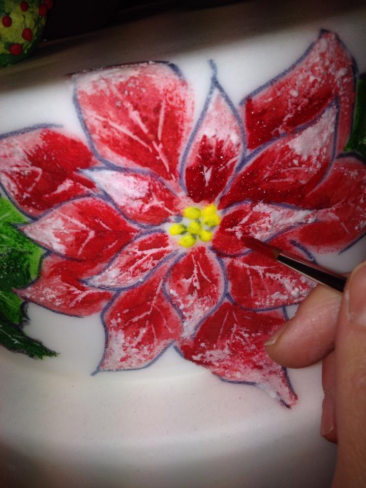 Creare delle Ombre sulle Stelle di Natale con la Ghiaccia Reale Rossa e Bianca