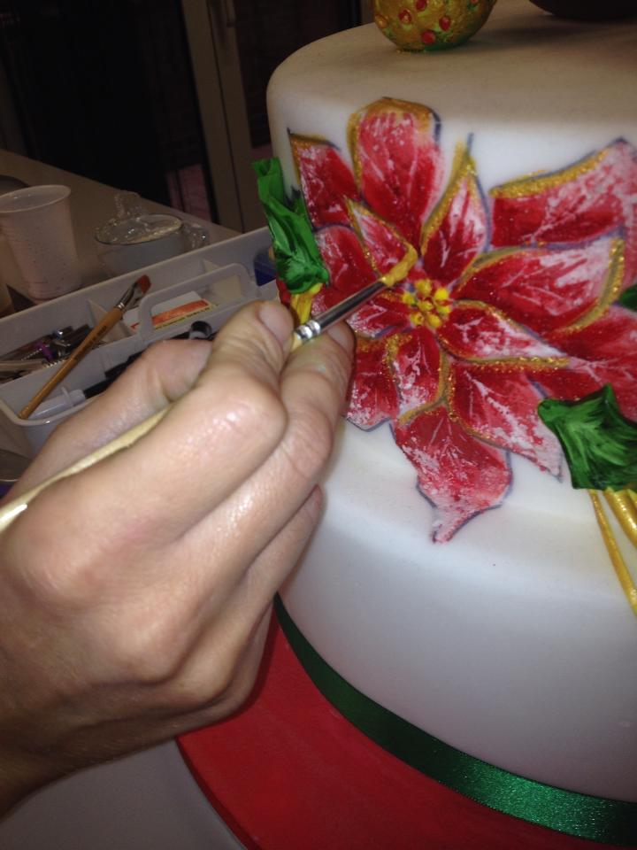 Dipingere i Bordi della Stella di Natale con il Colorante Oro